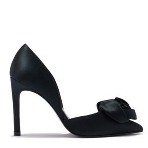Anthropologie Shoes - Black Satin Bow d'Orsay Stiletto Heel Pointy Pump